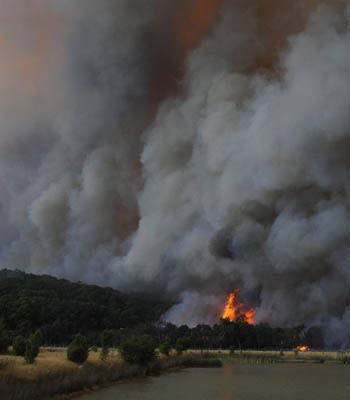 Flames and smoke rise from a bushfire in the Bunyip Sate Forest near the township of Tonimbuk, 125 kilometers (78 miles) west of Melbourne, Saturday, Feb. 7, 2009. Walls of flame roared across southeastern Australia, razing scores of homes, forests and farmland in the sunburned country's worst wildfire disaster in a quarter century. (AP Photo) ** AUSTRALIA OUT **