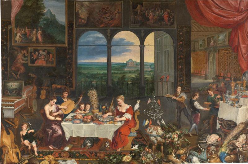 El Gusto, el Oído y el Tacto. Jan Brueghel